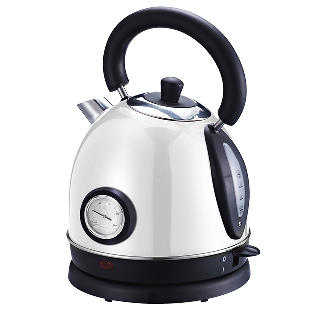 Electric Kettle 1.8L Retro Style Stainless Steel Water Kettle Cordless Electric Teapot with Temperature Gauge